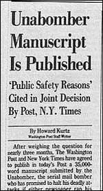 Манифестът на Качински, публикуван в Уошингтън Пост