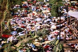 Телата на жертвите от клането в Джоунстаун
