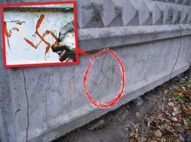Кървава свастика нарисувана с кръвта на убито куче