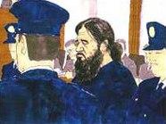 Скица на Асахара в съда