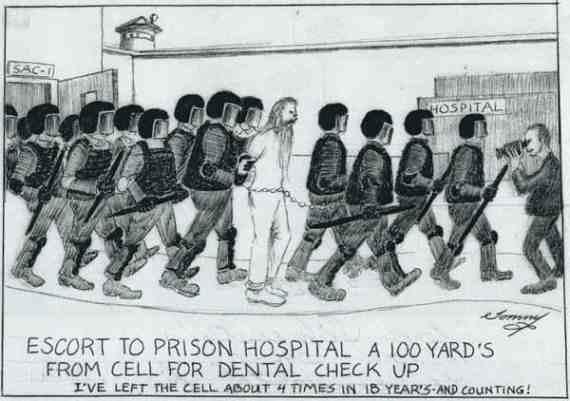 Заради репутацията си, Силвърстайн е охраняван от минимум осем офицери, когато напуска килията си. Друг служител заснема всичко с камера. Целта на записа е да докаже, че гражданските права на Силвърстайн не са нарушени.