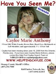 Плакат на изчезнала Кейли