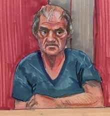 Скица на Клифърд Олсън в съда