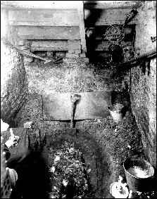 Останките на жертвата в мазето