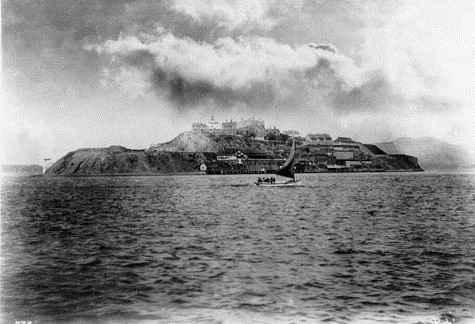 Ранна снимка на Алкатраз (1880 г.)