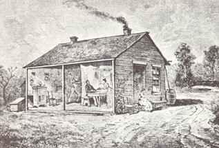 Илюстрация на къщата на Бендер, показваща интериора