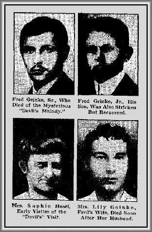 Фред Джейнке, Фред Джейнке мл, Соуфи Хейзъл и Лили Джейнке, жертви на отровителката.