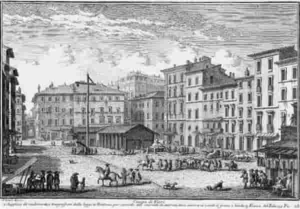 Кампо ди Фиори, където се състояла екзекуцията на Джулиа