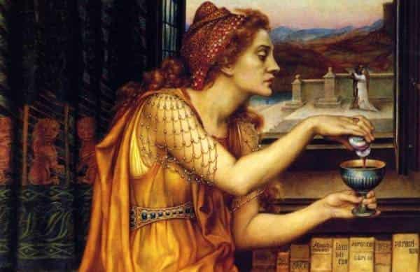 """""""Любовен еликсир"""" - картина на Евелин Де Морган, за която се смята, че е вдъхновена от Джулиа Тофана."""